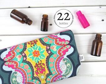 Large Essential Oil Bag, Essential Oil Case  -Brit Boutique - 22 bottles - cosmetic bag zipper pouch essential oil storage oils zipper pouch