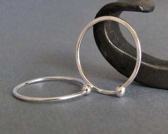 Hoop Earrings, 18 gauge Fine Silver Sleepers, Hammered, 20mm OD Closed style, Everyday Earrings