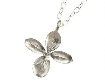 Sterling Silver Hydrangea Blossom Pendant Necklace