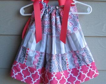 Child's Grey, Fuchsia and White Tiered Print Pillowcase Dress - 3 to 6 month - Tiered, pillowcase dress, infant dress, infant pillowcase