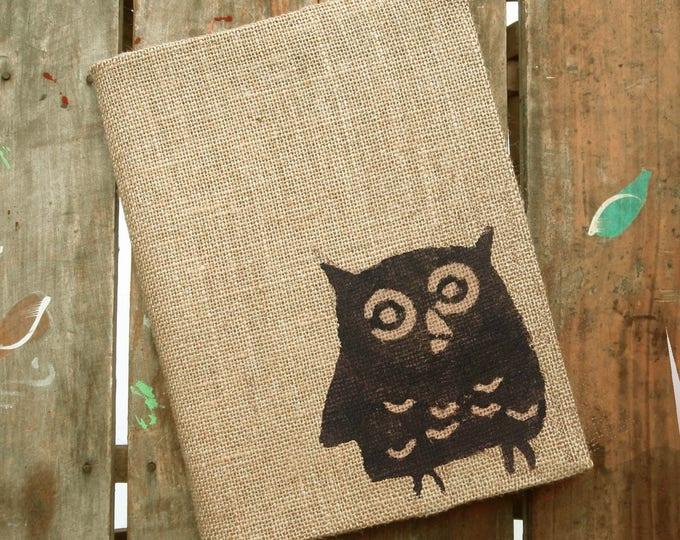 Owl -  Burlap Feed Sack Journal Cover w. Notebook - Owl Journal