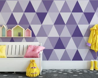 Ultra Violet Triangles Removable Wallpaper // PANTONE Color of the Year 2018 Peel and Stick Wallpaper // Self-Adhesive Reusable Wall Mural
