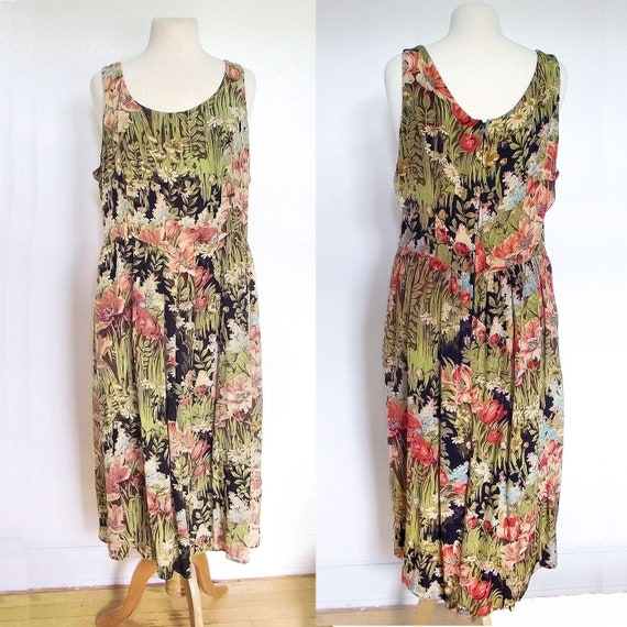 Suttles & Seawinds Vintage 1990s Floral Silk Dress // Sleeveless // Size 16 or XL