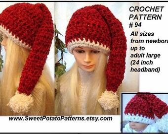 Instant Download PDF Crochet Pattern - Santa Hat SPP94, kids, women, teen, children, men,   boys,
