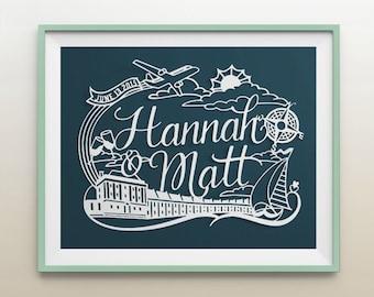 8.5x11 in Custom Nautical Theme Papercut Wonderland