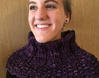 Spirited Merino Wool Cowl in Brilliant Purple