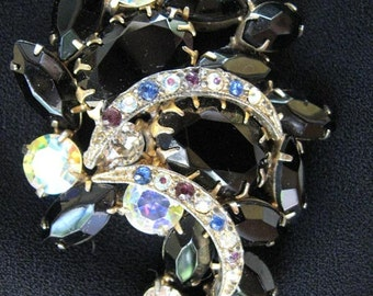 Hot rodded 1950s rhinestone brooch