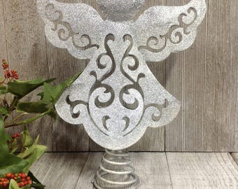 Silver Glittery Angel Tree Topper,  Christmas Tree Decor, Small/Medium Tree