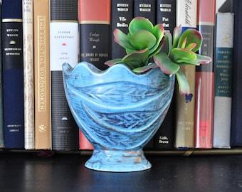 Vintage Scalloped Flower Vase, Blue and Gold Bud Vase, Textured Ceramic with Leaf Design