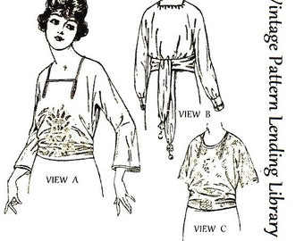 1921 Ladies Slip-Over Blouse In Kimono Style - Reproduction Sewing Pattern #Z2691