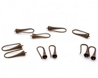 10 hooks trumpets bronze earrings