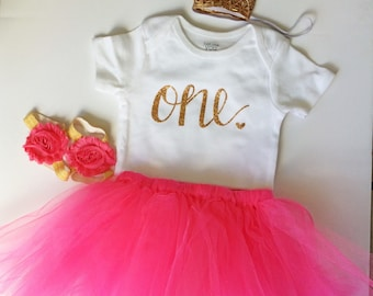 hot pink first birthday outfit - pink - birthday outfit - birthday collection