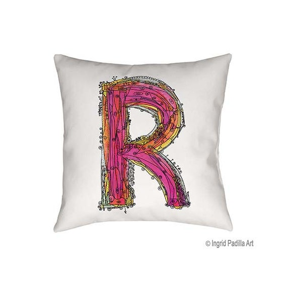 Whimsical, Letter, R, Pillow, Decorative, monogram pillow, Illustration, funky, typography, Alphabet, Art, Printed fabric, Ingrid Padilla