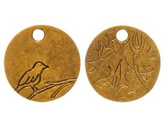 Bird On Branch, small GOLD Tag, 20x20x1.5mm, by Nunn Designs. NDBBGT