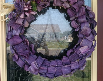 Hand dyed corn husk wreaths