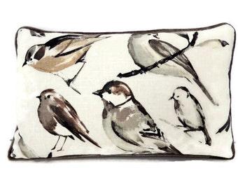 Bird Pillows- Lumbar Bird Pillow Cover- Richloom Birdwatcher in Charcoal Pillow Cover, Neutral Tone Pillow- Ivory, Grey,Taupe Pillow
