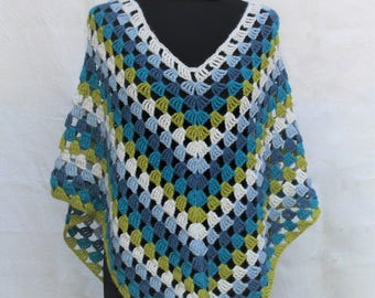 Crochet Multicolor Poncho, Spring Wrap in alpaca, made to order in any colour combination