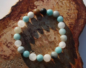 Oceanside Diffuser Stretch Bracelet ~ Aromatherapy Bracelet, Yoga Jewelry, Gemstone Bracelet, Intention Jewelry, Mala Bracelet