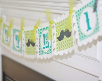 Mustache Bash Little Man Birthday Party Happy Birthday or Custom Name Banner - Ask About our Party Pack Special - Free Ship Over 65.00