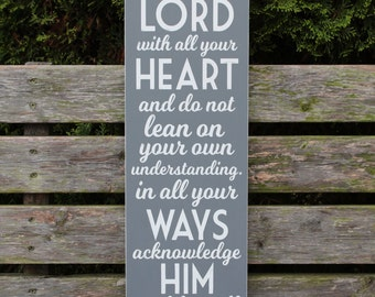 Proverbs 3:5-6  Distressed Painted Wooden Sign Trust in the Lord and Lean Not on Your Own Understanding