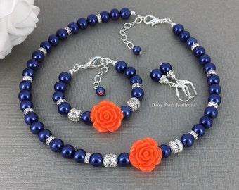 Flower Girl Jewelry Set Flower Girl Jewelry Gift Flower Girl Pearl Jewelry Gift for Flower Girl Navy Wedding Theme Orange Wedding Jewelry