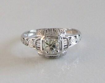 White Gold Diamond Filigree Ring, Diamond Engagement Ring, Promise Ring, Antique Engagement Ring, April Birthstone Ring