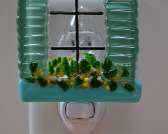 Sea Green Shutters With Flowerbox Fused Glass Night LIght