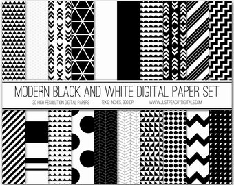 black and white modern digital scrapbook paper with geometric patterns