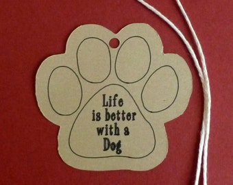 """Large Dog Paw Print kraft tags 2.5""""x2.5"""" with twine ties . shop supplies . price, gifts or product tags . ready to use . pet supplies labels"""