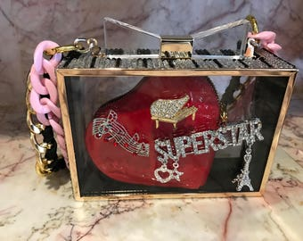 One of the kind Custom- made Crystal Elements Clutch Hand Bag/Pianist Super Star