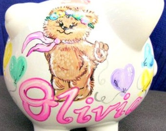 Children's Handpainted Personalized Piggy Bank Teddy Bear and Balloons