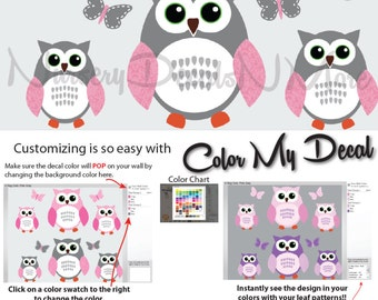 Pink and Gray Owl Decals, 6 Owl Stickers, Owl Wall Decals (6 Pink Gray) 6ROO