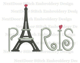 Paris embroidery design, Eiffel tower filled stitch machine embroidery file download, bd-002-fill