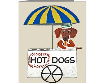 Dachshund Cards/Dachshund Hot Dog Stand/Doxie Hot Dog/(Pack of 10 Note Cards & Envelopes)/Assortment Available/Squirreldumplings/Doxie Cards