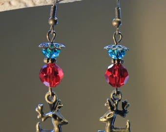 """""""Reindeer Santa 's"""" retro, vintage, fancy earrings."""