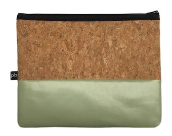Pb_pochette Large, mint and cork leather clutches, handmade, hand bag, glove holder, tricks