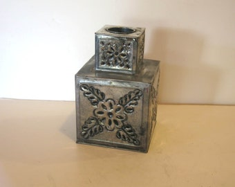 Vintage Signed Gene Byron Mexico Silver Toned Tin Weighted Square Candle Holder