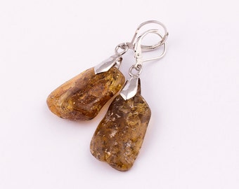 Wholesale Natural Baltic Amber Earrings Green Color - Lot 10