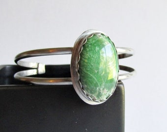 """Utah Variscite Sterling Silver Cuff Bracelet - 6"""" Double Band Cuff Bracelet - 25th Anniversary Gift - Birthday Gift"""