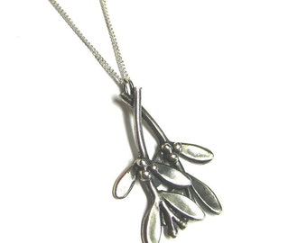 Sterling Silver Mistletoe Necklace - Christmas Holiday Kiss Jewellery