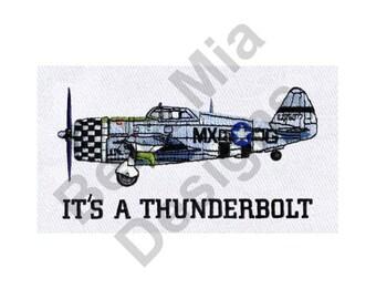 Plane - Machine Embroidery Design, Jet, P-49 Thunderbolt