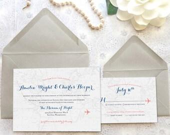 World Traveler Map Printable Wedding Invitations - Aviation Wedding - Travel Wedding - World Map Wedding - Destination Wedding