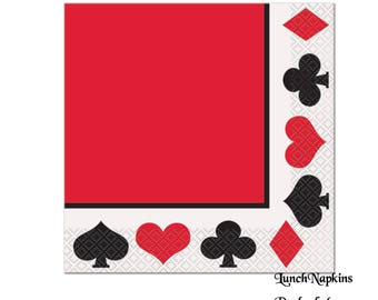 card napkins, casino night, poker party decorations, game night, queen of hearts, bachelor party, adult birthday, babys first birthday