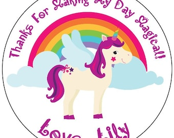 unicorn birthday labels, unicorn party stickers, rainbow birthday sticker labels, custom unicorn birthday stickers, available in 3 sizes