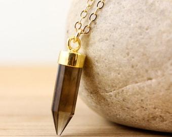 Smokey Quartz Point Necklace - Point Jewelry - 14K GF Chain