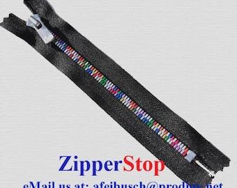 7 inch - EXCELLA RAINBOW ZIPPER - Ykk - Closed Bottom - Black - High End Ykk Zipper