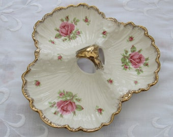 Crown Ducal Serving Dish, Trefoil Dish, Scallop Shaped Serving Dish with Gilded Rim and Pink Roses, Vintage Tableware