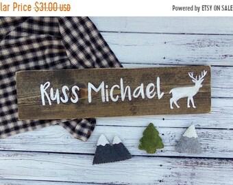 SALE Boys Nursery Name Sign, Woodland Nursery Decor, Rustic Nursery, Custom Baby Name Sign, Personalized Baby Shower Gift, Custom Kids Name