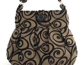 shoulder tote bag -fabric messenger bag- diaper bag- tapestry purse- black handbag- crossbody bag- cross shoulder purse,