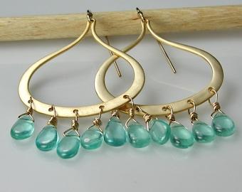 Apatite Gemstone Gold Chandelier Teardrop Earrings Turquoise Blue